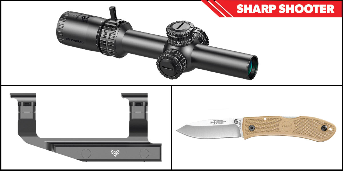 Delta Deals Sharp Shooter Combos: Swampfox Optics Arrowhead 30mm Tube Scope 1-6x24 + KABAR Hunter Folding Knife 4.25