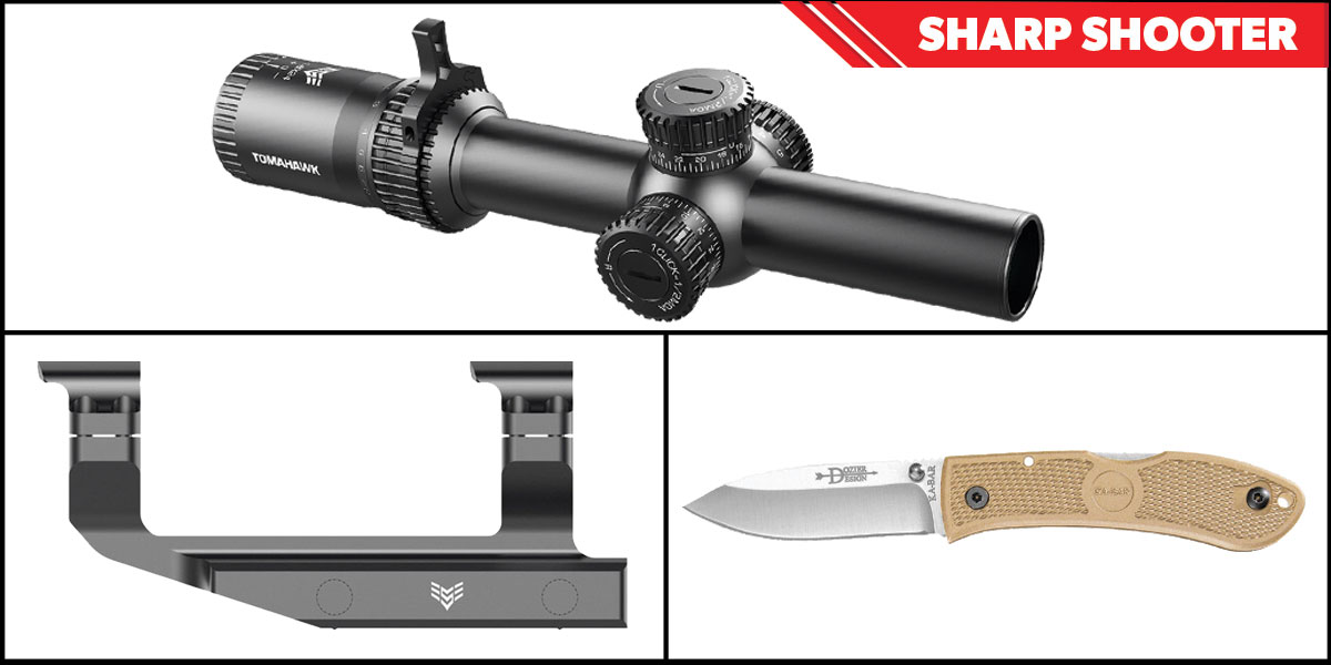 Delta Deals Sharp Shooter Combos: Swampfox Optics Tomahawk LPVO Scope BDC Reticle 1-4x24 + KABAR Hunter Folding Knife 4.25