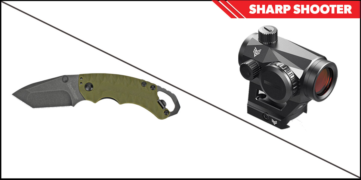 Delta Deals Sharp Shooter Combos: Swampfox Optics Liberator Green Dot 1x22 + Kershaw Shuffle II Folding Knife