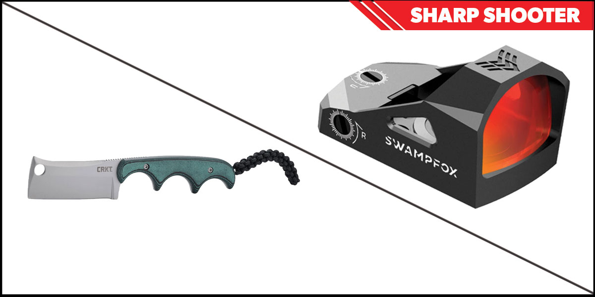 Delta Deals Sharp Shooter Combos: Swampfox Optics Justice Red Dot 1x27 + CRKT Minimalist Cleaver