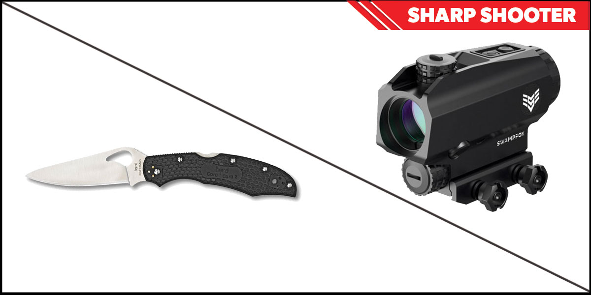 Delta Deals Sharp Shooter Combos: Swampfox Optics Blade Prism Sight Red Dot 1x25 + Spyderco Byrd Folding Knife