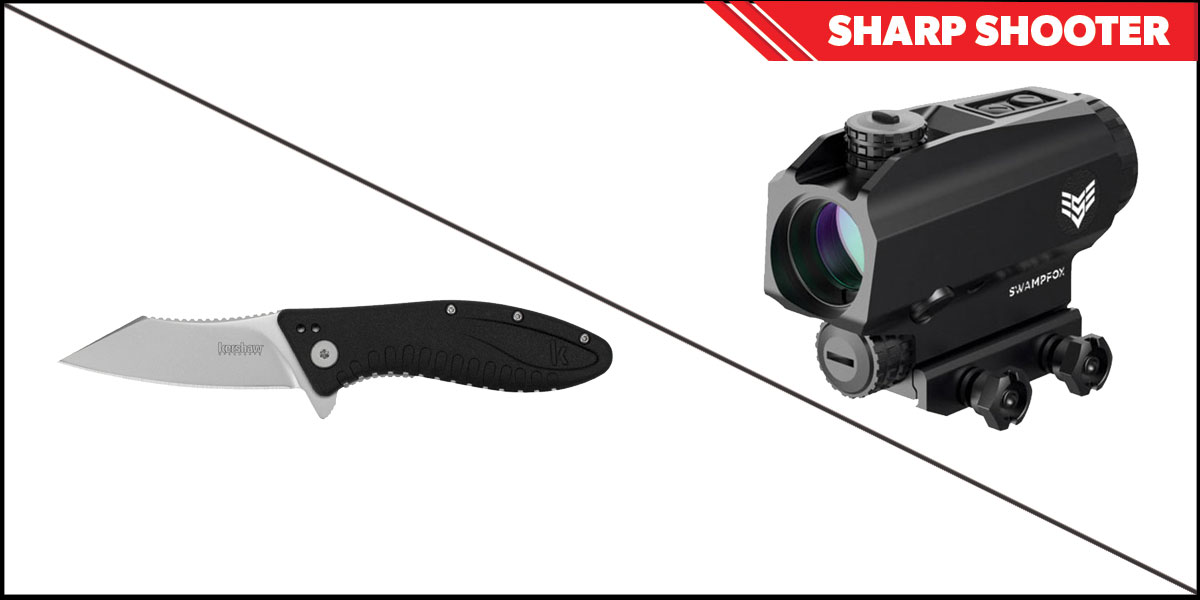 Delta Deals Sharp Shooter Combos: Swampfox Optics Blade Prism Sight Red Dot 1x25 + Kershaw Grinder Folding Knife