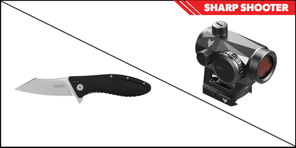 Delta Deals Sharp Shooter Combos: Swampfox Optics Liberator Green Dot 1x22 + Kershaw Grinder Folding Knife