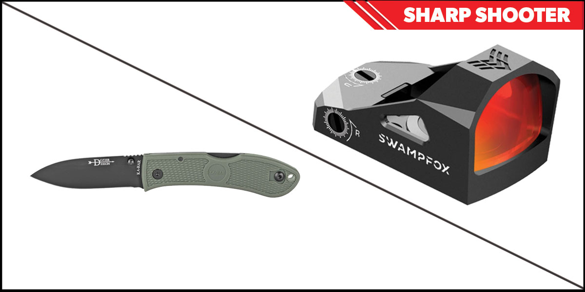 Delta Deals Sharp Shooter Combos: Swampfox Optics Justice Red Dot 1x27 + KABAR Hunter Folding Knife 3