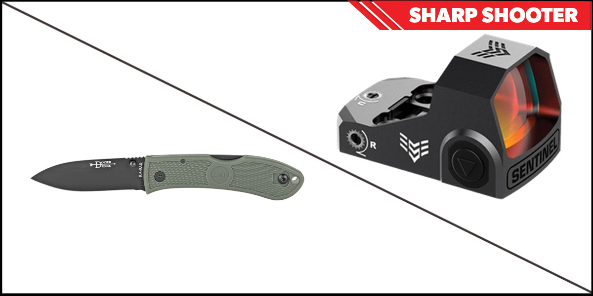 Delta Deals Sharp Shooter Combos: Swampfox Optics Sentinel Red Dot 1x16 Ambient Brightness + KABAR Hunter Folding Knife 3