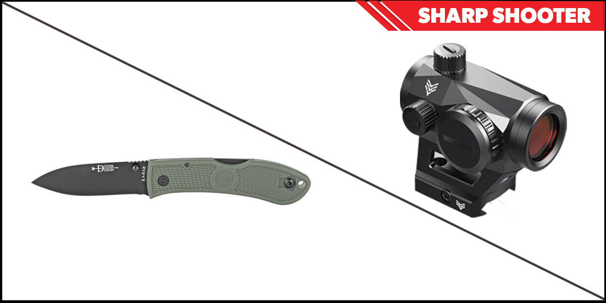 Delta Deals Sharp Shooter Combos: Swampfox Optics Liberator Green Dot 1x22 + KABAR Hunter Folding Knife 3