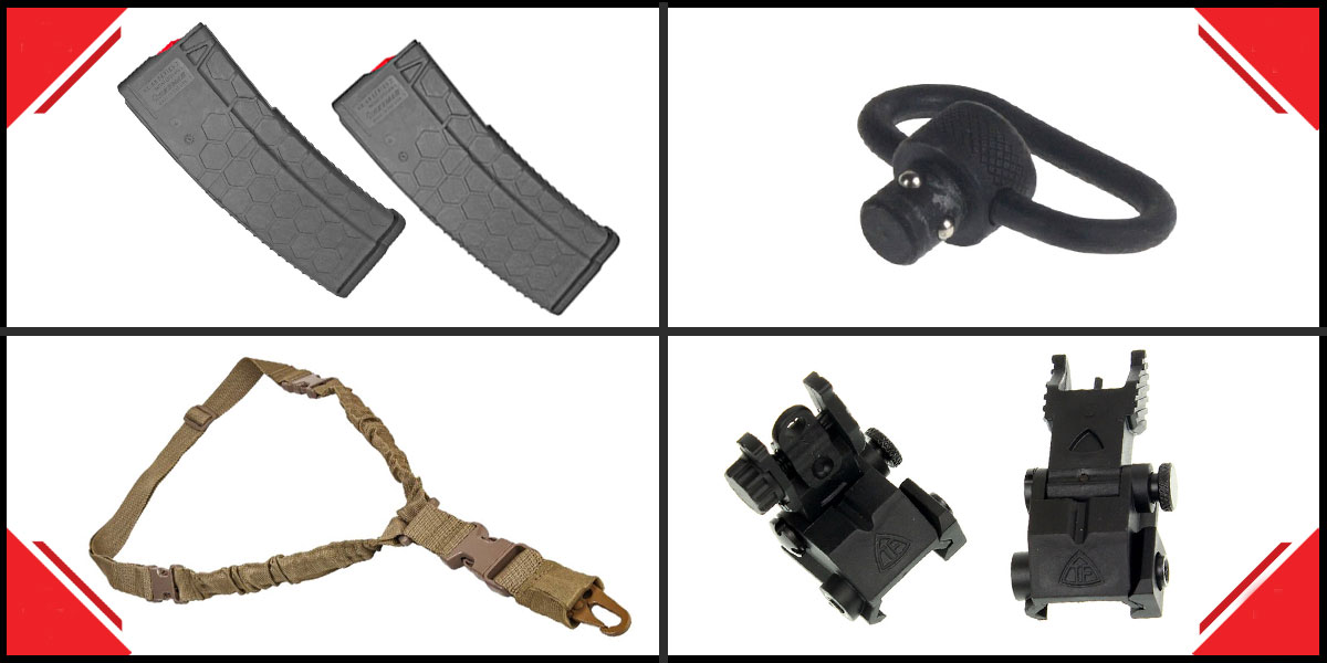 Delta Deals HEXMAG Mag For .223 Remington/5.56 NATO 30Rd Grey x2 + QD Sling Swivel + VISM Single Point Sling - Tan + Trinity Force Polymer Flip-Up Sights