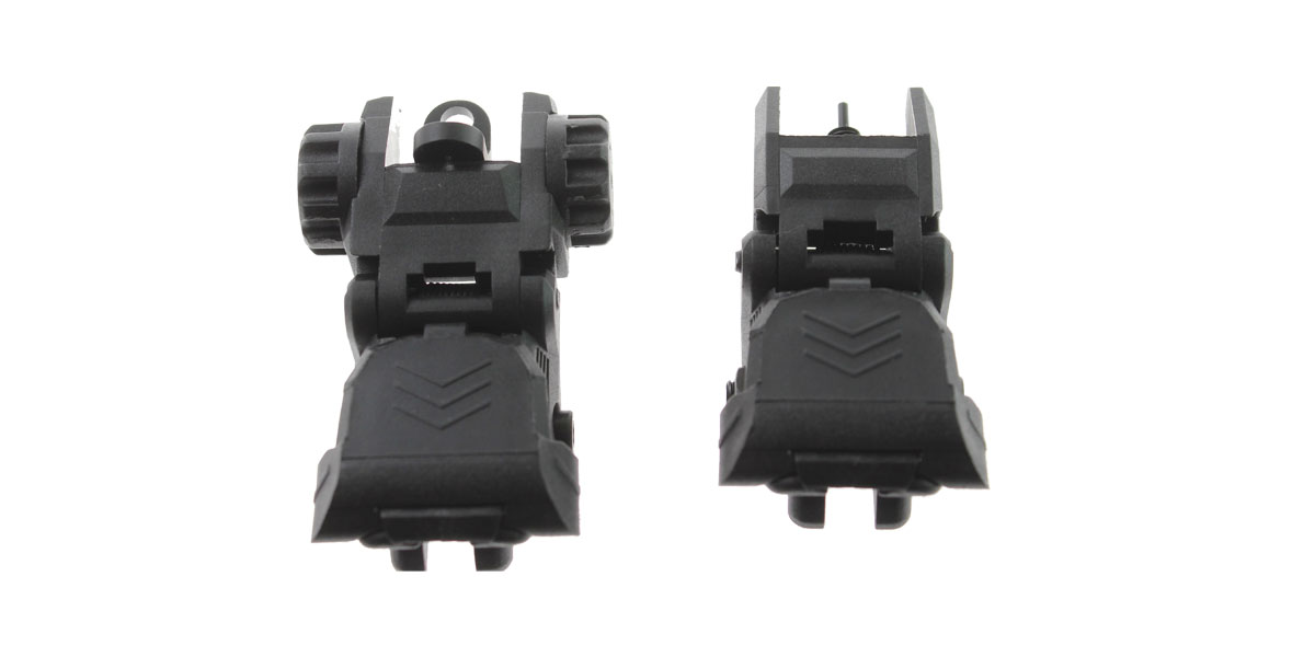 Trinity Force Polymer Flip Up Sights for MIL-STD 1913 rail (Picatinny), Front and Rear, Black