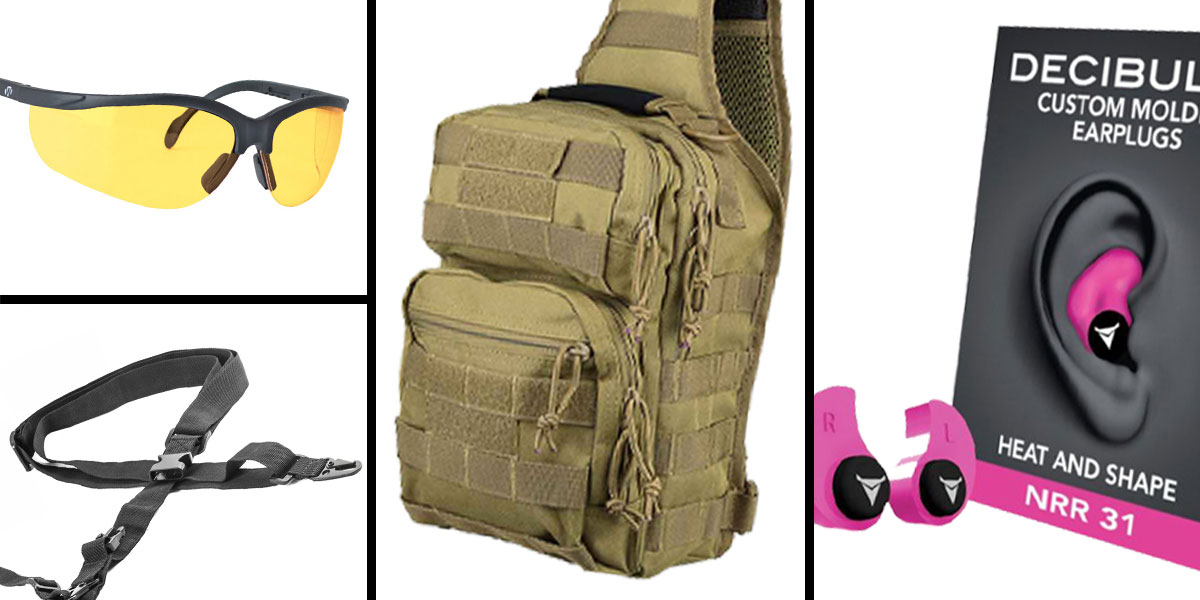 Tactical Gift Box VISM Shoulder Sling Utility Bag - Tan + Decibullz Custom Molded Earplugs - Pink + Walker's Glasses, Yellow + AR-15 Three Point Tactical Combat Sling With HK Clips - Black
