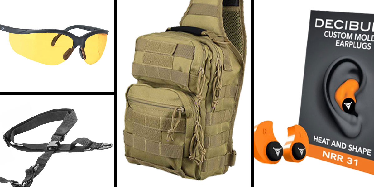 Tactical Gift Box VISM Shoulder Sling Utility Bag - Tan + Decibullz Custom Molded Earplugs - Orange + Walker's Glasses, Yellow + AR-15 Three Point Tactical Combat Sling With HK Clips - Black