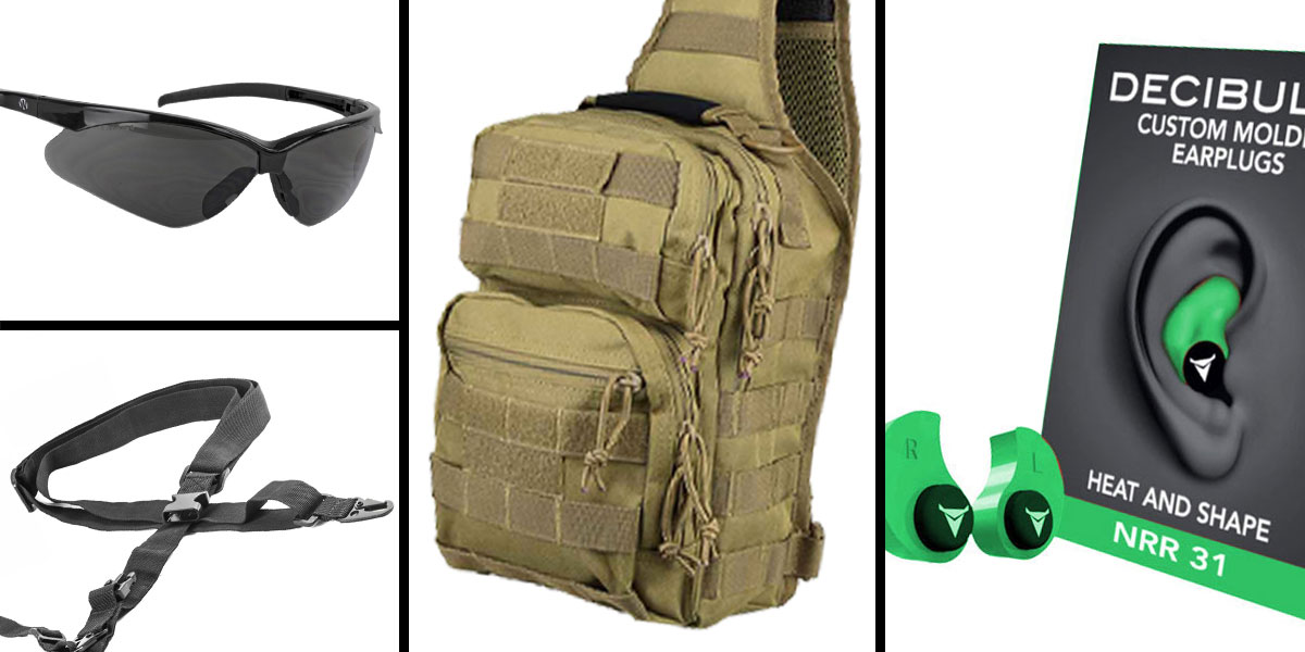 Tactical Gift Box VISM Shoulder Sling Utility Bag - Tan + Decibullz Custom Molded Earplugs - Green + Walker's, Shooting Glasses, Smoke + AR-15 Three Point Tactical Combat Sling With HK Clips - Black
