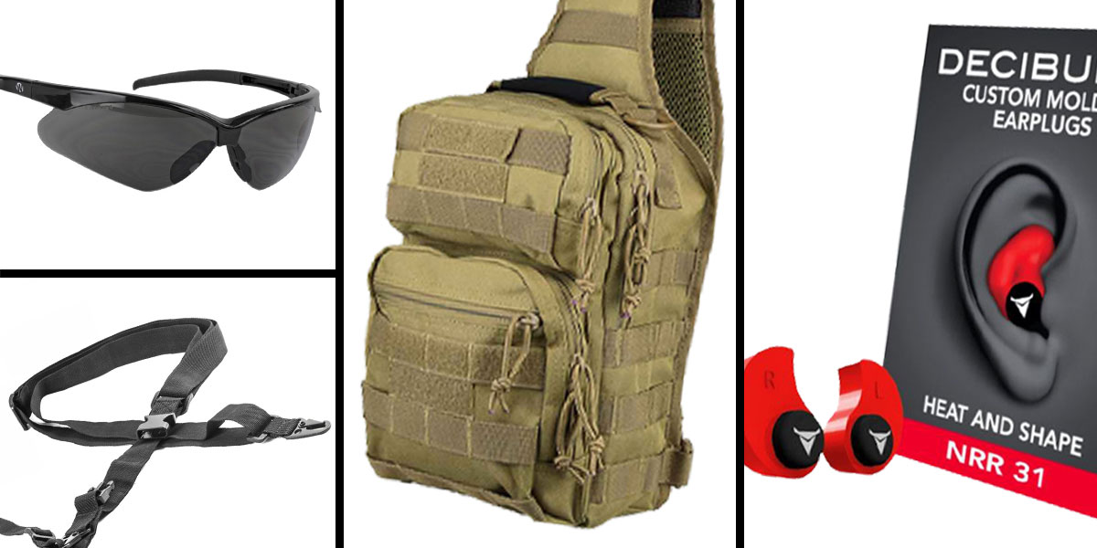 Tactical Gift Box VISM Shoulder Sling Utility Bag - Tan + Decibullz Custom Molded Earplugs - Red + Walker's, Shooting Glasses, Smoke + AR-15 Three Point Tactical Combat Sling With HK Clips - Black