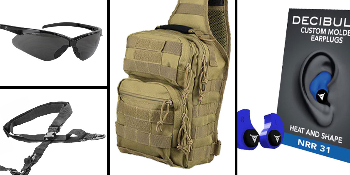 Tactical Gift Box Shoulder Sling Utility Bag - Tan + Decibullz Custom Molded Earplugs - Blue + Walker's, Shooting Glasses, Smoke + AR-15 Three Point Tactical Combat Sling With HK Clips - Black