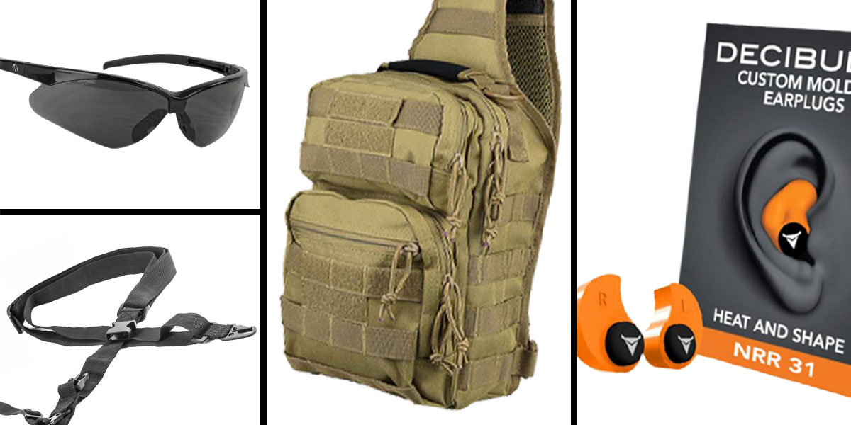 Tactical Gift Box VISM Shoulder Sling Utility Bag - Tan + Decibullz Custom Molded Earplugs - Orange + Walker's, Shooting Glasses, Smoke + AR-15 Three Point Tactical Combat Sling With HK Clips - Black