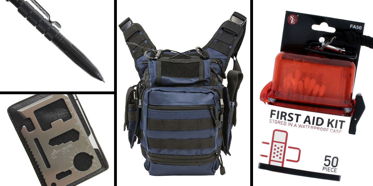 Tactical Gift Box VISM First Responders Utility Bag - Blue W/Black + Tactical Pen w/ Glass Breaker - Black + 50 Piece First Aid Kit in a Waterproof Storage Container + 11-IN-1 Multi-Function Survival Tool - 5 pc set