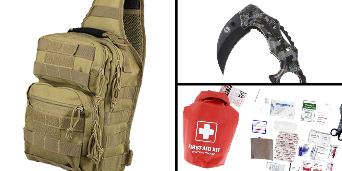 Tactical Gift Box 100 Piece First Aid Kit stored in Dry Sack + Folding Hawkbill Blade Knife w/ Clip-Digital Camo Green + Shoulder Sling Utility Bag - Tan