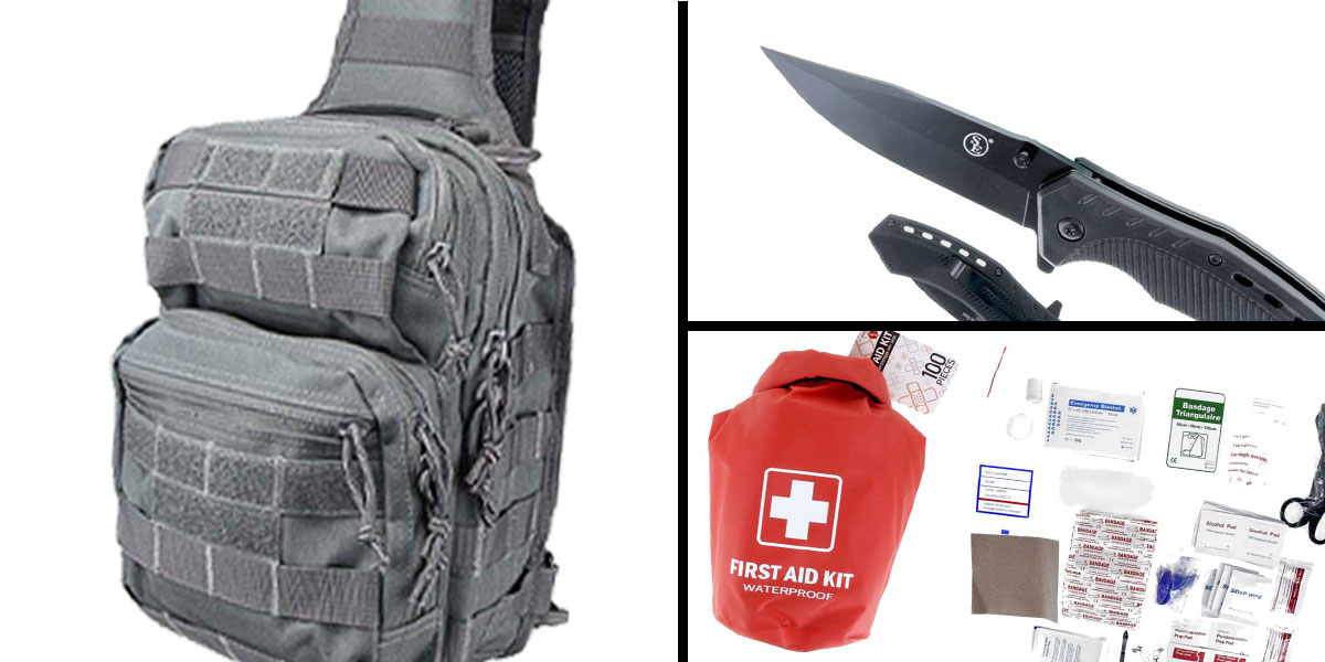 Tactical Gift Box 100 Piece First Aid Kit stored in Dry Sack + Spring Assisted Pocket Knife with Clip-Black + Shoulder Sling Utility Bag - Grey