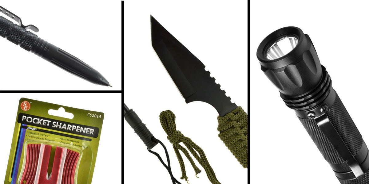 Tactical Gift Box NCStar Tactical LED Flashlight + Tactical Pen + GS Knife Co. Mini Hunting Knife with Fire Starter Full Length 7