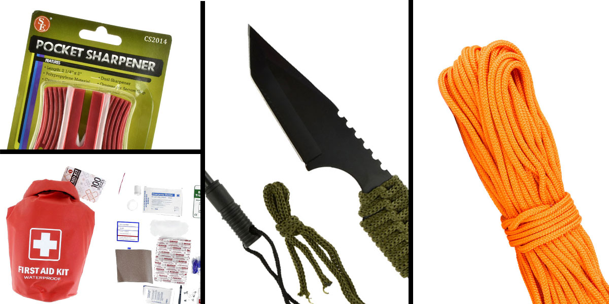 Tactical Gift Box 100 Piece First Aid Kit stored in Dry Sack + GS Knife Co. Mini Hunting Knife with Fire Starter Full Length 7