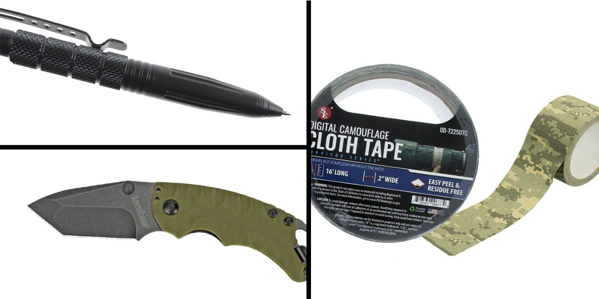 Tactical Gift Box Kershaw, Shuffle II, Folding Knife, 8CR13MOV/Black, Drop Point Blade + Tactical Pen + SE Cloth Tape Digital Camoflauge