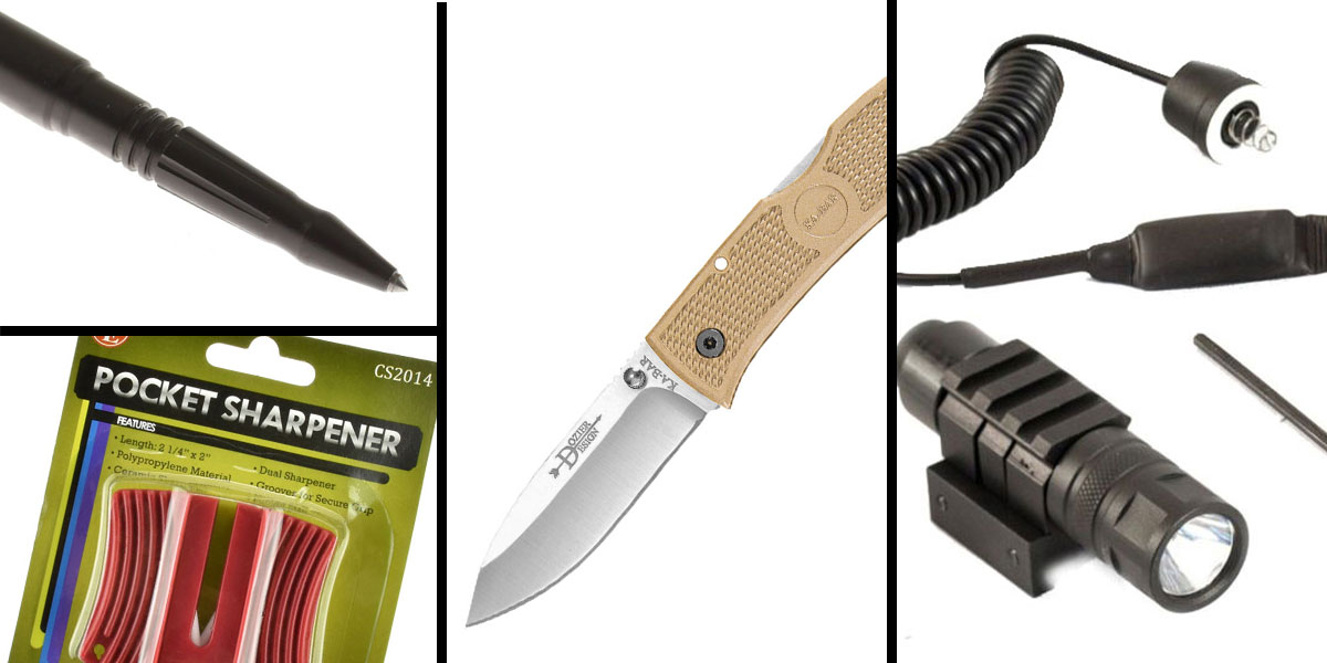 Tactical Gift Box Tactical Pen + JE Machine 250 Lumen Flashlight with Pressure Switch + KABAR, Dozier, Hunter 4.25 Folding Knife + SE Pocket Sharpener-Ceramic Sharpener