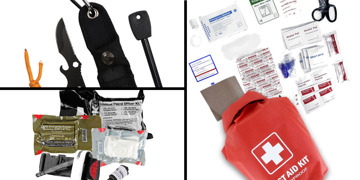 Tactical Gift Box North American Rescue, Individual Patrol Officer Kit (IPOK), Medical Kit + 100 Piece First Aid Kit stored in Dry Sack + UST Paraknife 2.0 FS