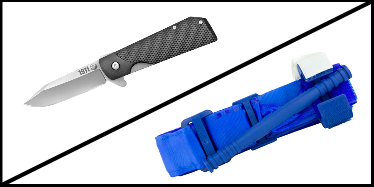 Supply Drop Cold Steel 1911 Folding Knife + North American Rescue Combat Application Tourniquet *Trainer* - Blue