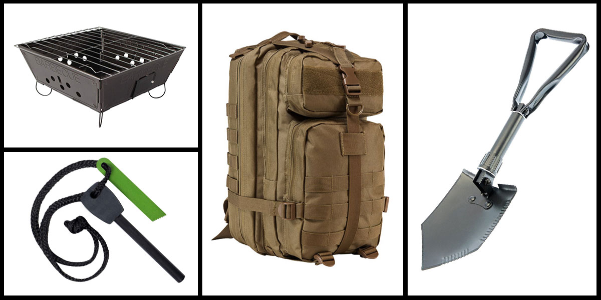 Supply Drop VISM Small Backpack - Tan + Portable Folding Barbecue Grill + Jumbo Emergency Flint Fire Starter & Striker + 23