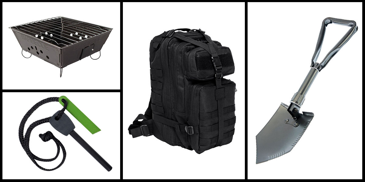 Supply Drop VISM Small Backpack - Black + Portable Folding Barbecue Grill + Jumbo Emergency Flint Fire Starter & Striker + 23
