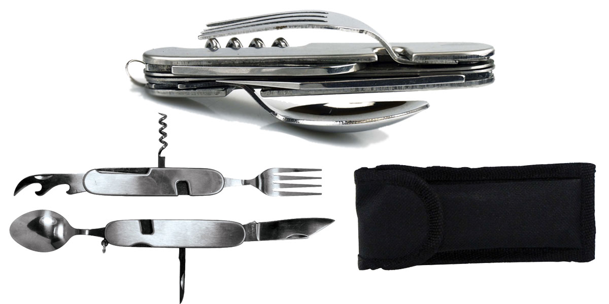 SE 7-IN-1 Stainless Steel Multi-Function Camping Tool