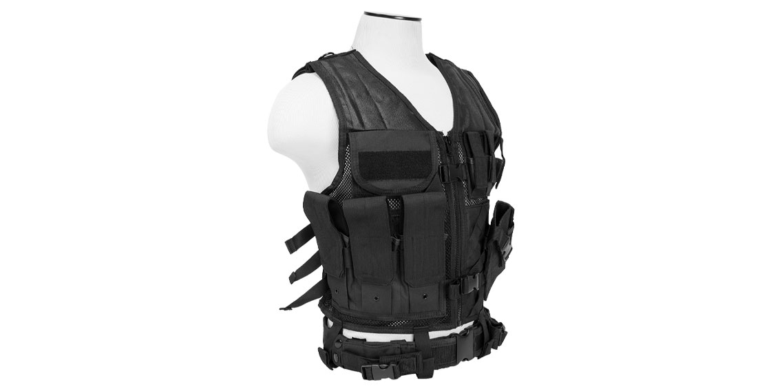VISM Extreme Combat Vest Deluxe Version With Mag Pouches For Rifle & Pistol Mags  & Cross Draw Holster