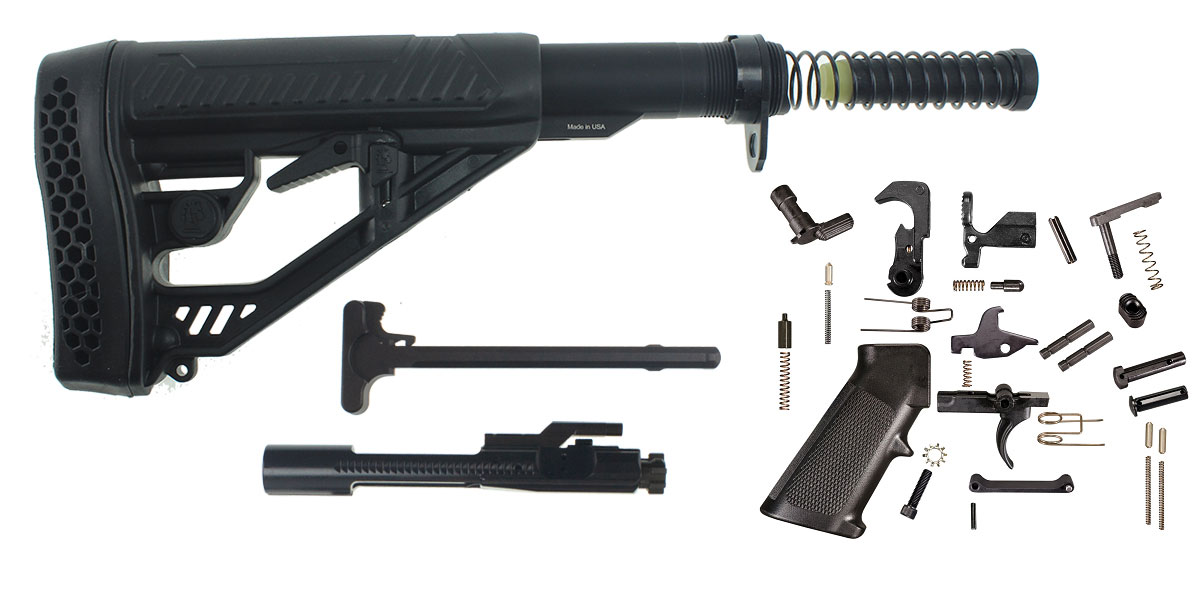 Adaptive Tactical Stock AR-15 Finish Your Rifle Kit - Pick Stock Color - 5.56/.223/.300 BLKOUT/.350 Legend