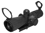 Nc/star SRT Series 4x32 Tactical Rifle Scope  Rubber Compact with Red Laser Blue ILL Mil dot  Quick Release Mount