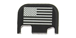 EL Tactical 'USA Flag' Engraved Glock Aluminum Slide Cover Plate Gen 1-4 - Black Anodized