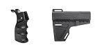 Delta Deals Omega Manufacturing AR-15 M4 Polymer Pistol Grip with Bottom Storage Compartment + KAK Blade Pistol Arm Stabilizer Brace BATF Approved