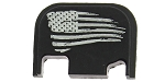 EL Tactical 'Tattered Flag' Engraved Glock Aluminum Slide Cover Plate Gen 4 - Black Anodized