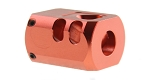 Recoil Technologies Glock 1/2X28 9MM Aluminum MB Triangle Top Port Muzzle Compensator - Red