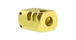 Recoil Technologies Glock 1/2X28 9MM Aluminum MB Triangle Top Port Muzzle Brake - Gold