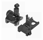 J&E Tactical Same Plane Low Pro Flip-up Fully Adjustable Front & Rear Aluminum Sight Set Fits Picatinny