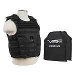 VISM Tactical Body Armor Molle Expert Plate Carrier Vest With IIIA Ballistic Panels New 2017 Date  - Black (Rated Up To 44 Magnum Point Blank Range)