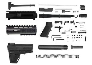 "Davidson Defense ""Bravo "" Complete Pistol Kit 7.5"" Nitride 5.56 NATO 1-7 Twist Barrel W/ 7"" Carbon Fiber Free Float Handguard KAK Blade LPK - Minus Lower and BCG"