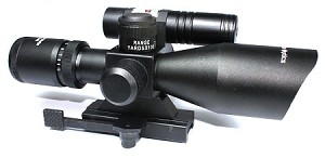 ADE OPTICS COMBAT RIFLE SCOPE 2.5-10x40 WITH GREEN LASER AND ILLUMINATED RETICLE
