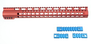 "Rebel Red Anodized 15"" Keymod AR-15 Handguard LIMITED EDITION"