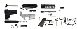 "Davidson Defense DIY Complete AR-15 Pistol Kit 80% Lower 7.5"" Stainless Steel Barrel 7"" KeyMod HandGuard (everything but the BCG!)"