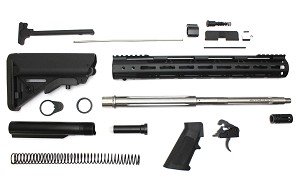 "Davidson Defense Complete AR-15 Rifle Kit Minus BCG & Lower & Upper Receivers 3.5 lb Ultra Match Drop In Trigger .223 Wylde Kit 16"" Stainless Fluted Barrel 1:9 Twist 15"" M-Lok Handguard With Buttstock"