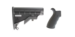 Delta Deals Omega Mfg. AR-15 Rear Beavertail grip, Rubberized Coating + MMC Armory 6-Position Adjustable Polymer LE Butt Stock
