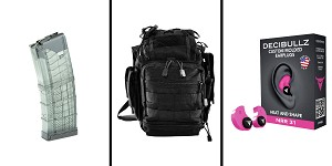 Delta Deals Range Ready Kit Ft. VISM Utility Bag - Black + Decibullz Custom Molded Earplugs - Pink + LANCER AR-15 .223REM/5.56 NATO 30RD Magazine