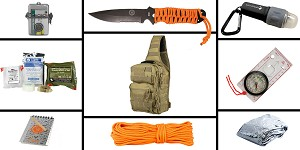 Delta Deals Preparedness Pack Featuring: VISM Shoulder Sling Utility Bag - Urban Gray, First Aid Kit, Knife, Light, Outdoor Skills Pocket Reference Guides, Waterproof Note Pad, Emergency Space Poncho, Compass, and 50' of Paracord