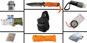 Delta Deals Preparedness Pack Featuring: VISM Shoulder Sling Utility Bag - Black, First Aid Kit, Knife, Light, Outdoor Skills Pocket Reference Guides, Waterproof Note Pad, Emergency Space Poncho, Compass, and 50' of Paracord