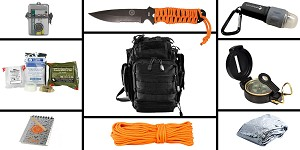 Delta Deals Preparedness Pack Featuring: VISM First Responders Utility Bag - Black, First Aid Kit, Knife, Light, Outdoor Skills Pocket Reference Guides, Waterproof Note Pad, Emergency Space Poncho, Compass, and 50' of Paracord